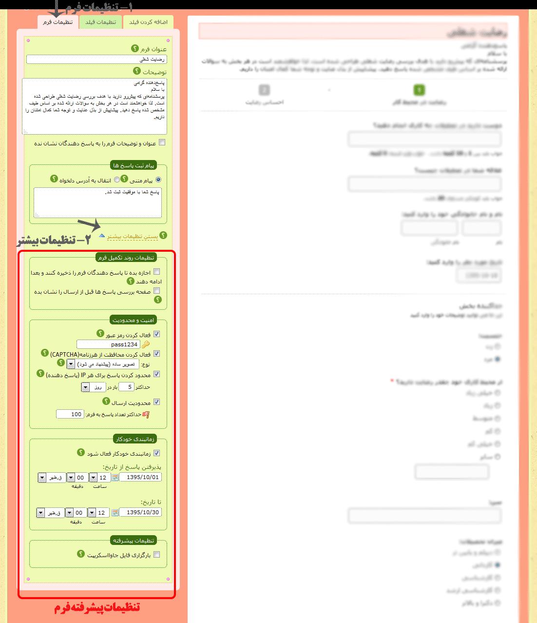 تنظیمات پیشرفته فرم