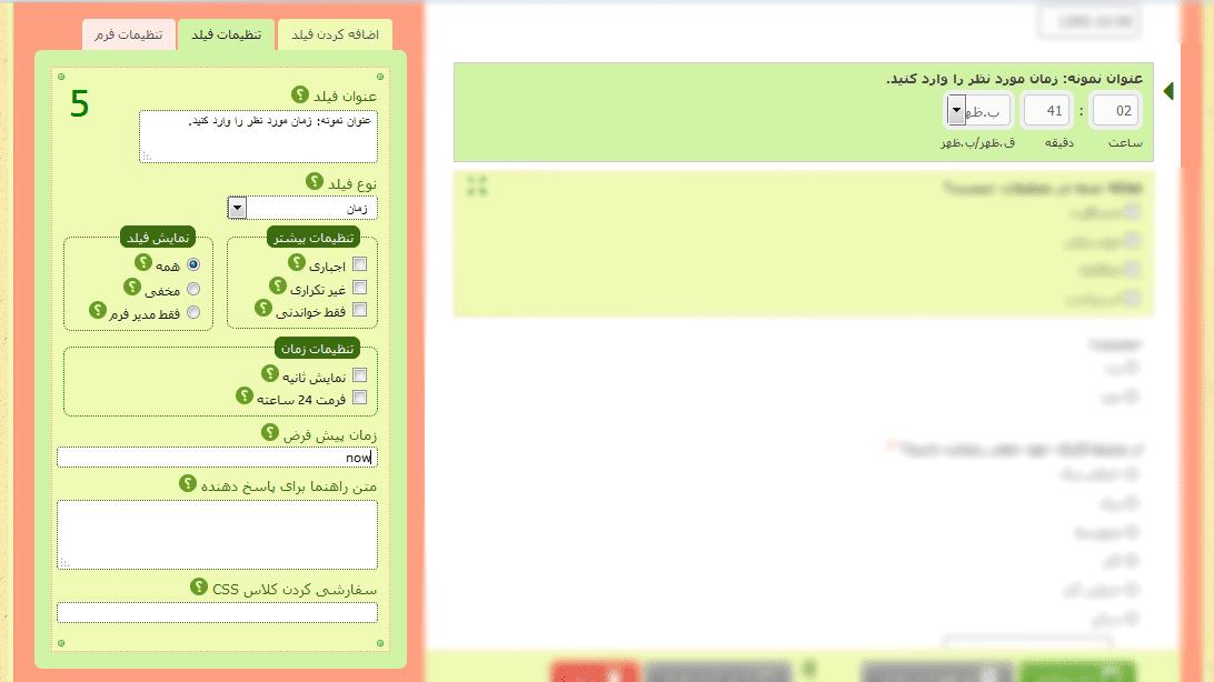تنظیمات فیلد زمان- راهنمای هر قسمت با علامت سوال مشخص شده است